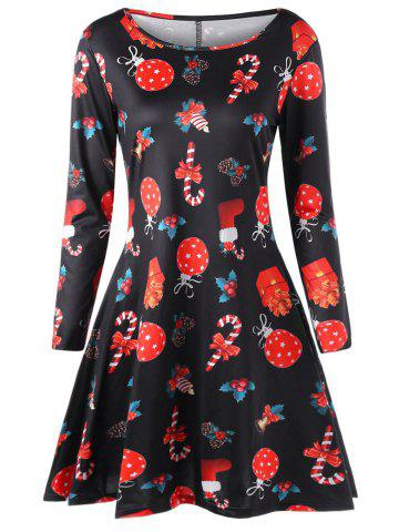 Outfit Plus Size Christmas Printed A Line Dress - 2XL BLACK Mobile