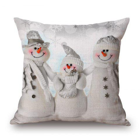 Outfits Christmas Snowmen Family Print Decorative Linen Sofa Pillowcase