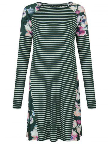 Store Raglan Sleeve Striped Floral Print Dress GREEN M