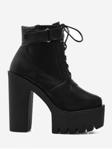 Chic Lug Sole Platform Ankle Boots BLACK 38