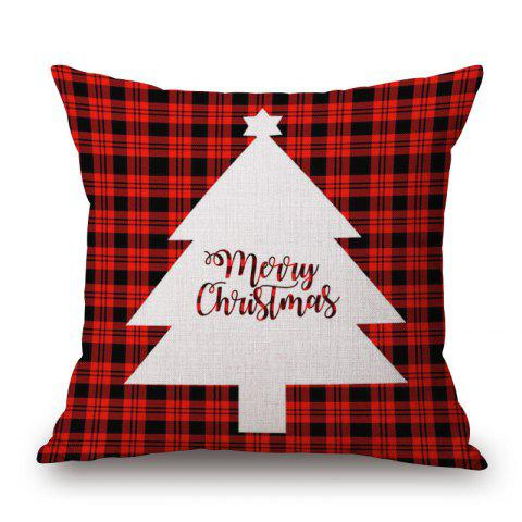 Affordable Christmas Tree Plaid Print Decorative Linen Sofa Pillowcase - 45*45CM DEEP RED Mobile