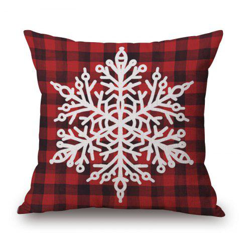 Shop Christmas Snowflake Plaid Print Linen Sofa Pillowcase - 45*45CM DEEP RED Mobile