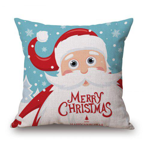 Cheap Christmas Santa Claus Print Decorative Linen Sofa Pillowcase