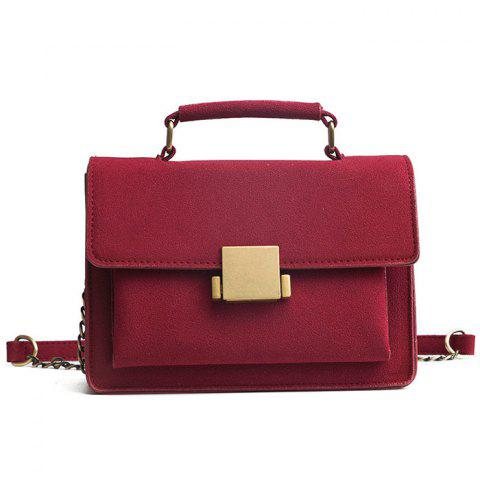 Cheap PU Leather Crossbody Bag With Handle - RED  Mobile