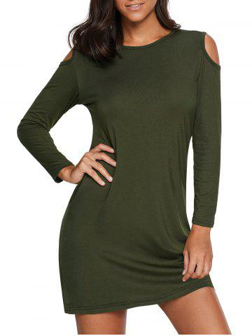 Hot Cold Shoulder Mini Tunic Dress - 2XL ARMY GREEN Mobile