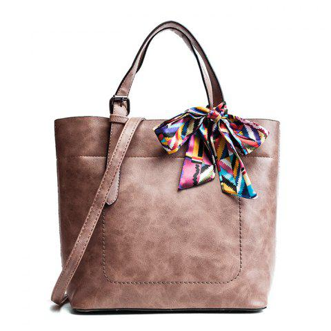 Shop Scarf  PU Leather Bow Tote Bag PINK
