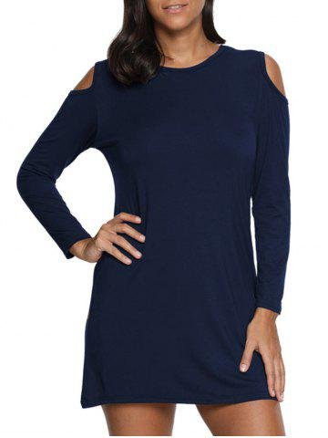 Discount Cold Shoulder Mini Tunic Dress - M PURPLISH BLUE Mobile