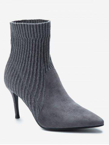 Hot Slip On Stiletto Heel Pointed Toe Boots - 35/5.5 GRAY Mobile