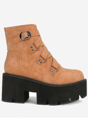 Trendy Platform Criss Cross Buckle Strap Boots - 35 BROWN Mobile
