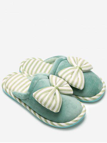 Cheap Bowknot Plush Stripe House Slippers GREEN SIZE(38-39)