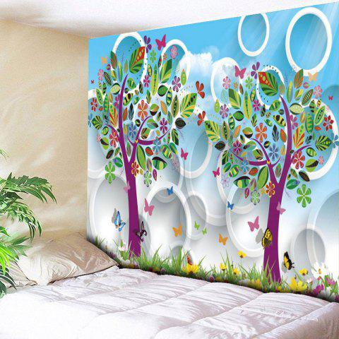 Latest Cartoon Tree Circle Print Wall Art Tapestry SKY BLUE W79 INCH * L59 INCH