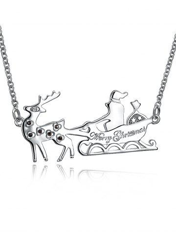 New Christmas Reindeer Sleigh Ride Shape Drop Necklace - SILVER  Mobile