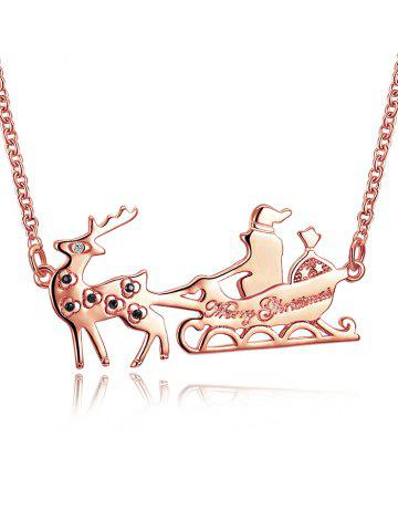 Shop Christmas Reindeer Sleigh Ride Shape Drop Necklace GOLDEN