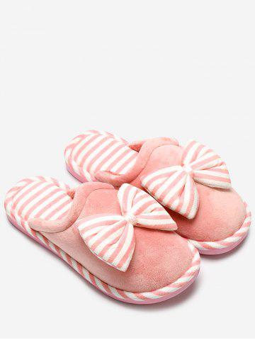 Sale Bowknot Plush Stripe House Slippers