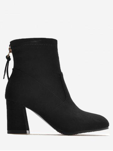 Online Pointed Toe Block Heel Ankle Boots - 36 BLACK Mobile