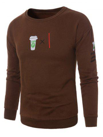 New Fleece Coffee Graphic Embroidered Sweatshirt - L BROWN Mobile