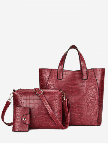 New PU Leather Embossing 3 Pieces Handbag Set RED
