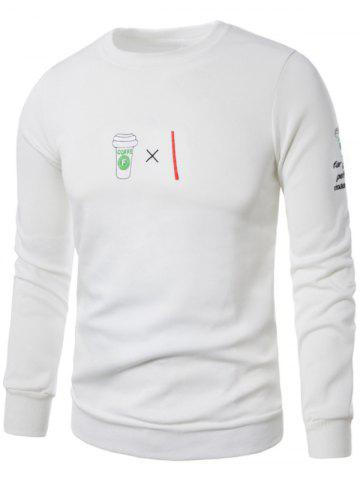 Chic Fleece Coffee Graphic Embroidered Sweatshirt - 5XL WHITE Mobile