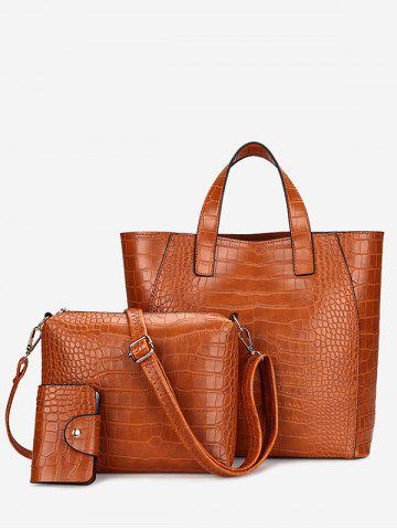 Discount PU Leather Embossing 3 Pieces Handbag Set - BROWN  Mobile