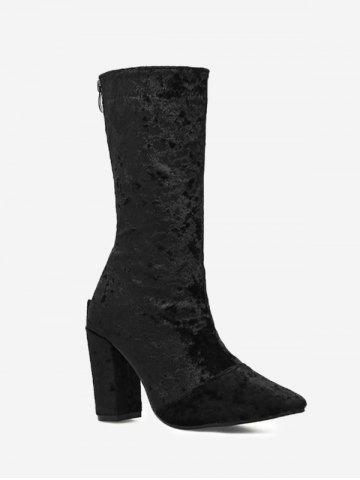 Online Pointed Toe High Heel Mid Calf Boots BLACK 35