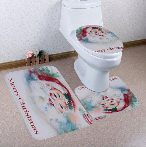 Store Merry Christmas Santa Pattern 3 Pcs Bath Mat Toilet Mat