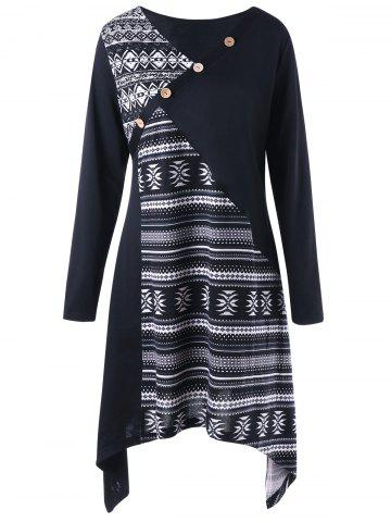 Trendy Plus Size Tribal Print Long Sleeve Tunic Top - 3XL BLACK Mobile