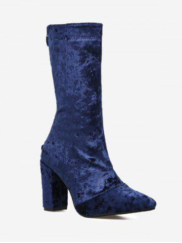 Latest Pointed Toe High Heel Mid Calf Boots BLUE 39