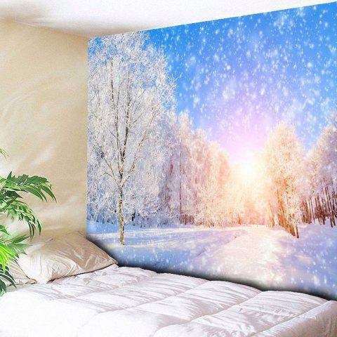 Affordable Wall Hanging Snowscape Pattern Tapestry - W59 INCH * L51 INCH BLUE AND WHITE Mobile