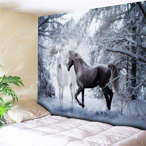 Trendy Two Horses Printed Wall Hanging Tapestry COLORMIX W59 INCH * L51 INCH