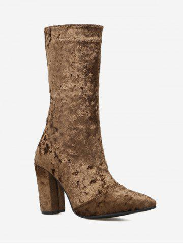 Discount Pointed Toe High Heel Mid Calf Boots - 39 BROWN Mobile