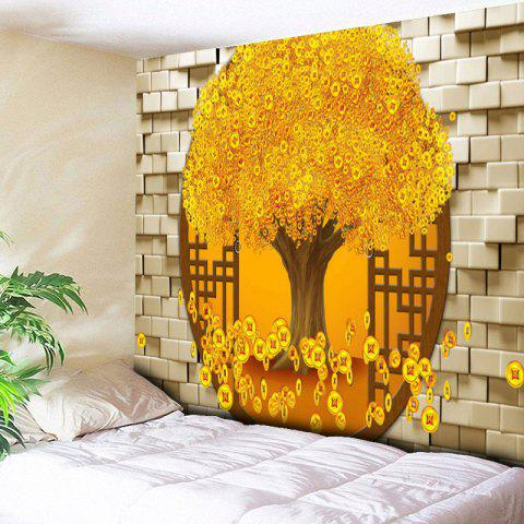 Unique Copper Coin Money Tree Printed Wall Tapestry GOLDEN W59 INCH * L59 INCH