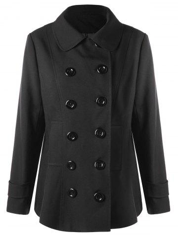 Buy Plus Size Double Breasted Welt Pocket Coat - XL BLACK Mobile