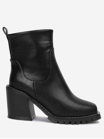 Best Block Heel PU Leather Ankle Boots BLACK 34