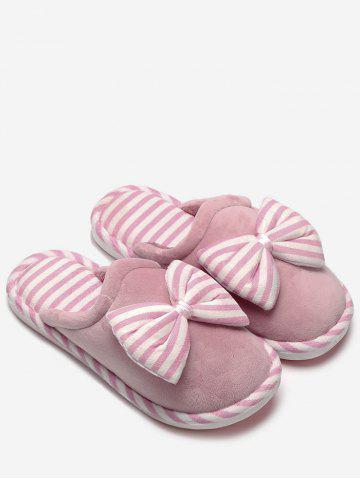 New Bowknot Plush Stripe House Slippers