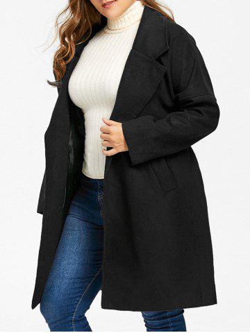 Discount Plus Size Wool Blend Drop Shoulder Wrap Coat