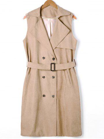 Online Plus Size Double Breasted Longline Waistcoat and Belt - 2XL LIGHT KHAKI Mobile