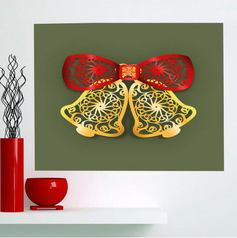Shops Christmas Bells Cut Print Multifunction Wall Art Painting RED + GREEN + YELLOW 1PC:24*47 INCH( NO FRAME )