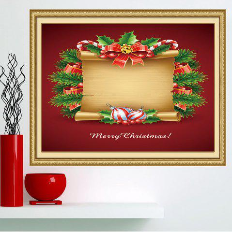 Sale Christmas Scroll Patterned Decorative Wall Art Painting - 1PC:24*47 INCH( NO FRAME ) RED AND YELLOW Mobile