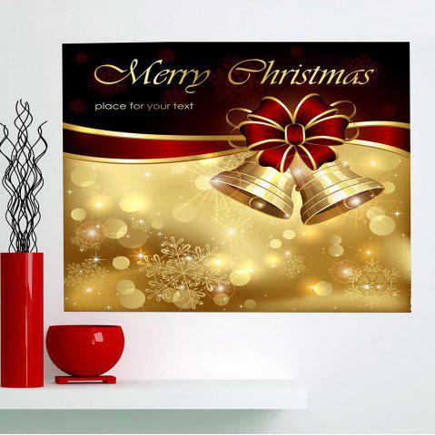 New Christmas Bowknot Bells Print Multifunction Wall Art Painting - 1PC:24*24 INCH( NO FRAME ) GOLDEN Mobile