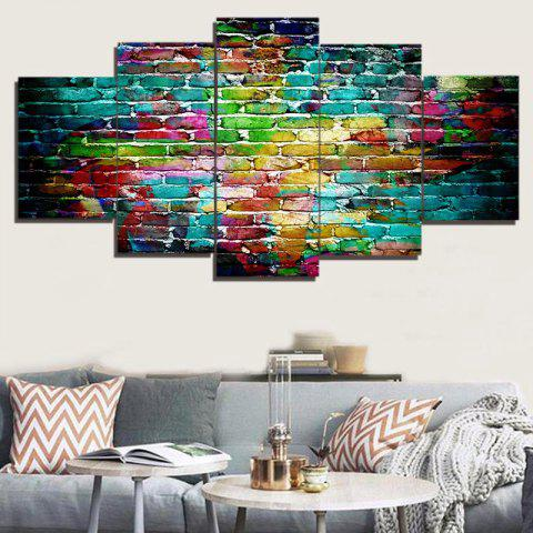 Hot Colorful Bricks Wall Print Split Canvas Paintings - 1PC:8*20,2PCS:8*12,2PCS:8*16 INCH( NO FRAME ) COLORFUL Mobile