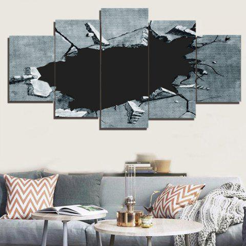 Outfit Broken Hole Printed Unframed Decorative Canvas Paintings GRAY 1PC:8*20,2PCS:8*12,2PCS:8*16 INCH( NO FRAME )