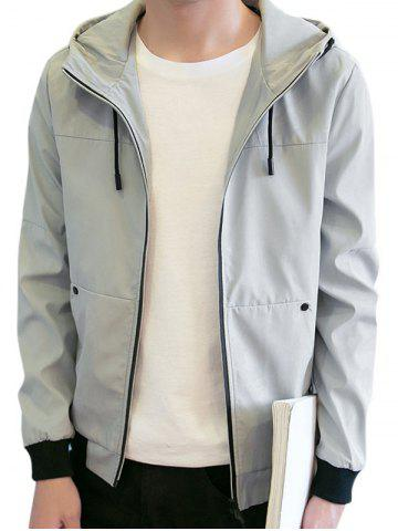 Fashion Zipper Up Drawstring Hooded Track Jacket GRAY M