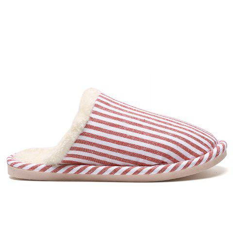 Fashion Pinstripe Faux Fur Padded House Slippers RED STRIPE SIZE(40-41)