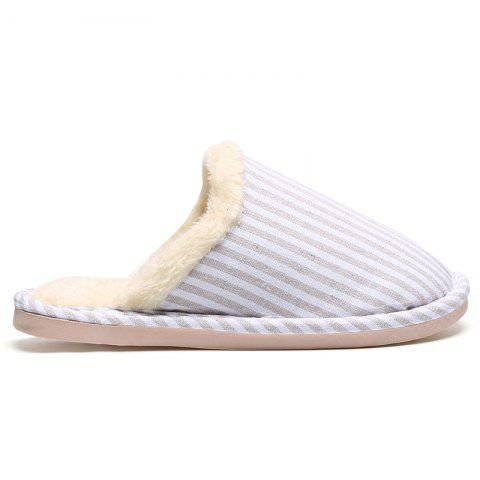 Hot Pinstripe Faux Fur Padded House Slippers OFF-WHITE SIZE(38-39)