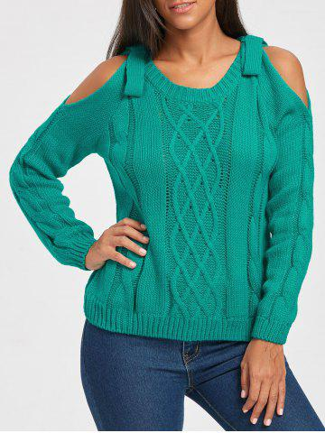 Shop Cable Knit Cold Shoulder Sweater GREEN ONE SIZE