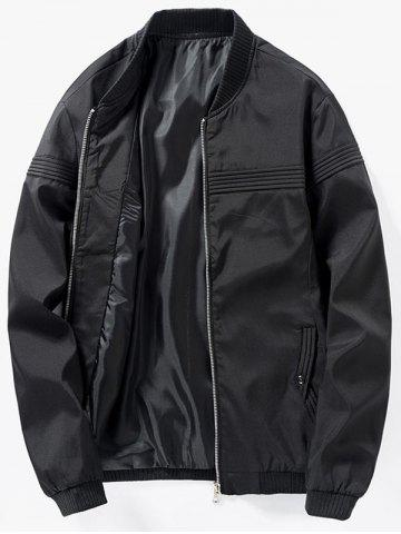 Hot Zip Up Stand Collar Casual Bomber Jacket - XL BLACK Mobile