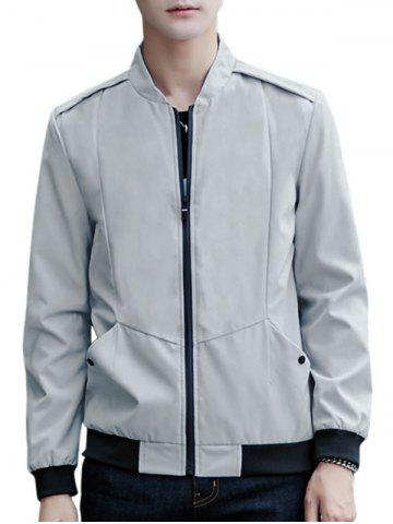 Affordable Casual Zip Up Pilot Jacket GRAY XL
