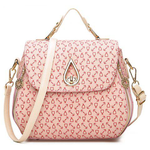 Chic PU Leather Arrow Print Handbag PINK