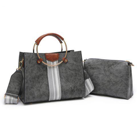 Sale Striped 2 Pieces Handbag Set - GRAY  Mobile
