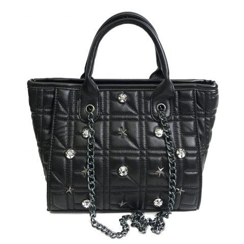 Discount Chain Quilted Rivets Handbag - BLACK  Mobile